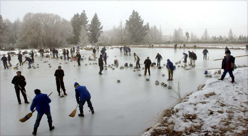 Curling on frozen lakes, Naseby, Otago