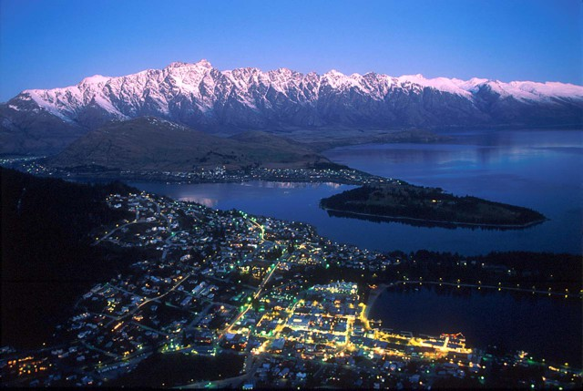 Queenstown at dusk, with the Remarkables in background